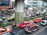 Traffic under the skytrain, Bangkok, Thailand